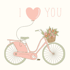 "Card on Valentine's Day with a bicycle and the words ""I love you"