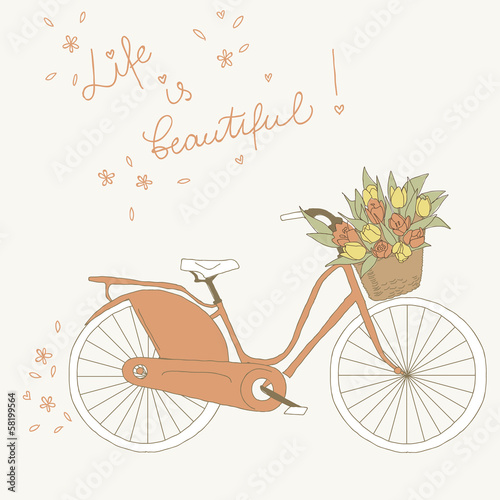 Bicycle with a basket full of flowers. Greeting card © artnis