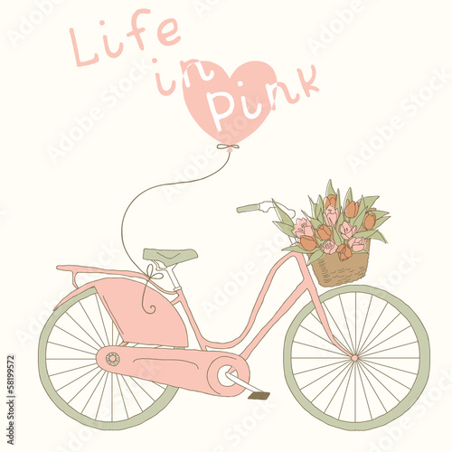 Valentine card with pink bicycle. Life in pink color © artnis