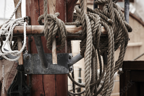 Sailing Ship details mast and ropes