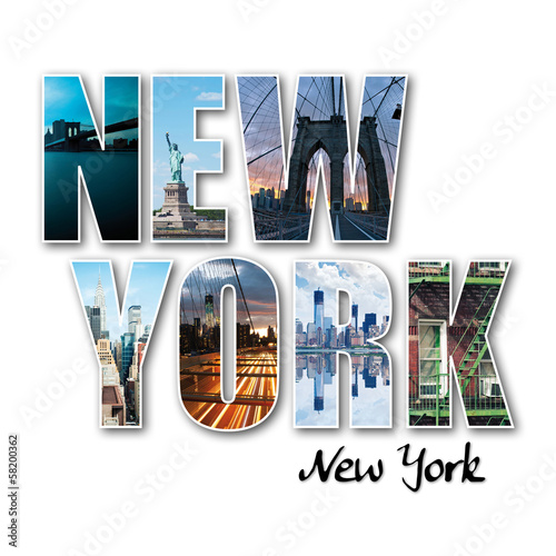 Foto op Plexiglas New York TAXI New York collage of different famous locations of the Big Apple.
