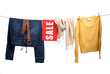 Women's fashion sale on the clothesline