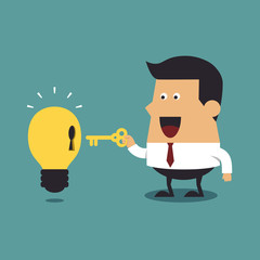 Businessman holding a golden key with light bulb Idea, Business