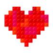 Heart Plastic Bricks Red