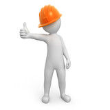 worker with thumb up. image with a work path