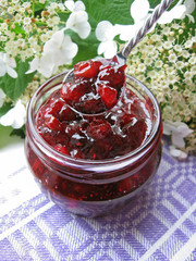 Fresh homemade cranberry jam or sauce