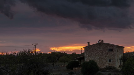 Island of Majorca, Traditional finca sunset time lapse