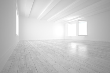 White room with opened windows