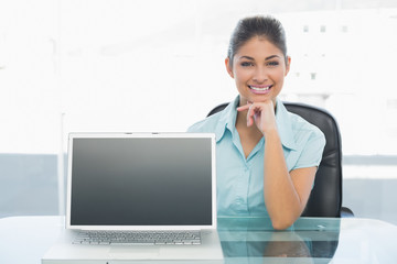 Elegant businesswoman displaying laptop in office