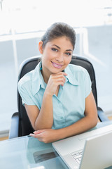 Portrait of businesswoman with laptop at office