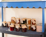 Home made jams and preserves in pots with labels