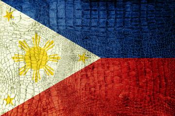 Philippines Flag painted on luxury crocodile texture