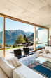 Modern house in cement, interiors, view from the living room