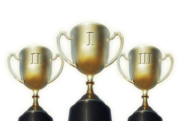 Trophy cups for first second and third places over white