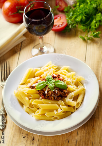 penne pasta with bolognese sauce