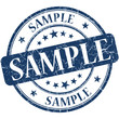 Sample grunge blue round vintage isolated stamp