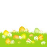 Easter Card Meadow Eggs Yellow/Orange/Green