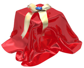 3d gift box under red cloth