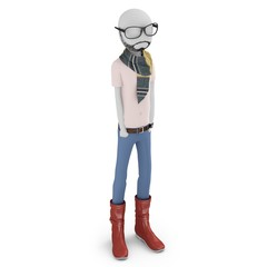 3d man hipster with hands in his pockets