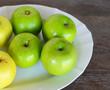 Green and Yellow Apples in Plate