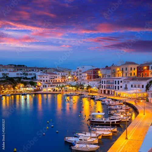 Leinwanddruck Bild Calasfonts Cales Fonts Port sunset in Mahon at Balearics