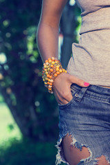 Colorful bracelet on a womans' hand