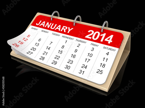 Calendar -  January 2014 (clipping path included)