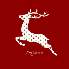 Card Reindeer Abstract Pattern Stars Red
