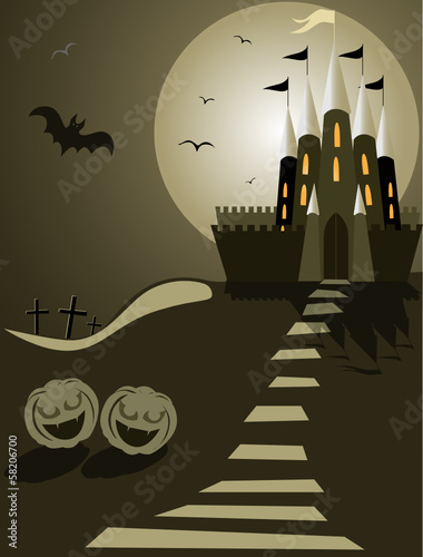 Halloween illustration with castle, bat, pumpkins and cemetery