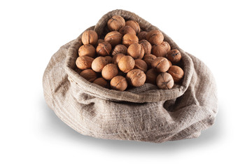 walnuts in the burlap bag