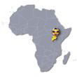Afrikakarte mit Uganda