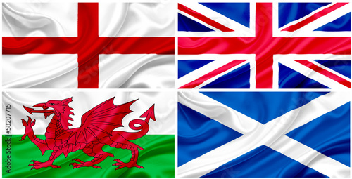 UK flag, collage.