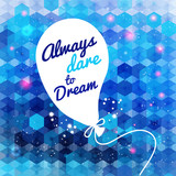 White drawn balloon with message on the blue hexagon background.