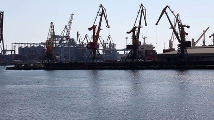 Ship to unload at a sea port. Odessa, Ukraine (Time Lapse)