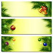 Banners with Christmas tree, bells and balls