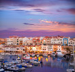 Ciutadella Menorca marina Port sunset with boats