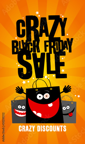 Crazy black friday sale banner with shopping bags.