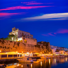 Ciutadella Menorca city town Hall and Port sunset