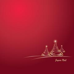 Sapin de Noël or sur fond rouge