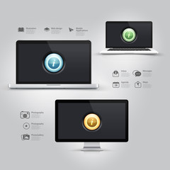 Infographics design:Computer, notebook, monitor and icons set