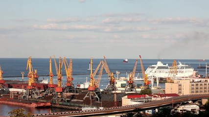 Ocean cruise ship leaves the port of Odessa, Ukraine (Queen Vict