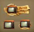 TV set retro, icon