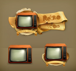 TV set retro, icon