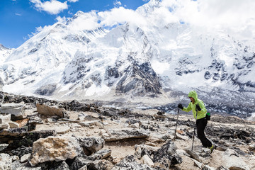 Woman hiking with Everest in background
