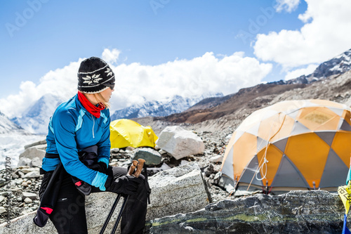 Woman hiker in Everest base camp