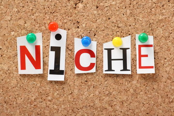 The word Niche on a cork notice board