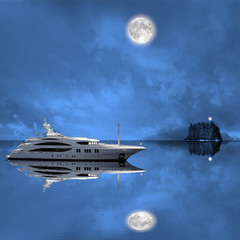 Fashionable yacht in the open sea at night.