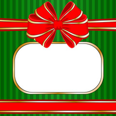 Christmas frame with red bow and space for your text