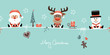 Santa, Rudolph & Snowman Symbols Retro