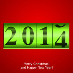 Green New Year counter on red background